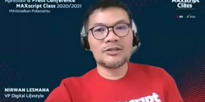 Vice President Digital Lifestyle Telkomsel Nirwan Lesmana melalui jumpa pers Program MAXscript Class 2020 secara virtual, Selasa (13/7). (indoposonline.net/ achmad Sukarno)