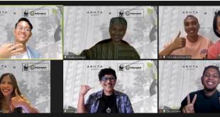 Tangkapan layar sejumlah figur publik dalam talkshow virtual World Wide Fund for Nature (WWF) secara daring di Jakarta, Minggu (18/7/2021). (indoposonline.net/achmmad sukarno)