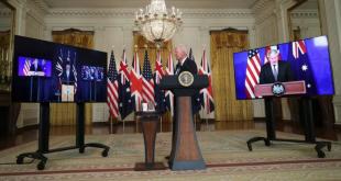 Presiden AS Joe Biden menyampaikan pidato tentang Inisiatif keamanan nasional secara virtual dengan PM Australia Scott Morrison dan PM Inggris Boris Johnson, di Gedung Putih, Washington, AS, Rabu (15/9/2021).