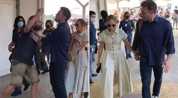 Aktor Ben Affleck dan Jennifer Lopez usai menghadiri Festival Film Venesia